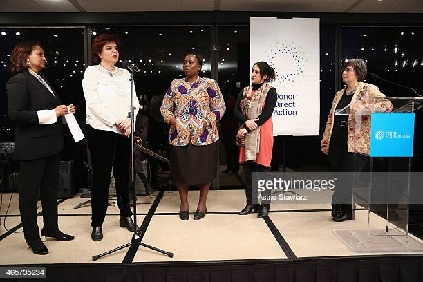 Hibaaq Osman Mouna Ghanem Nozizwe MadlalaRoutledge Najia Karimi and Jessica Neuwirth are seen on stage during the launch party of Donor Direct Action...