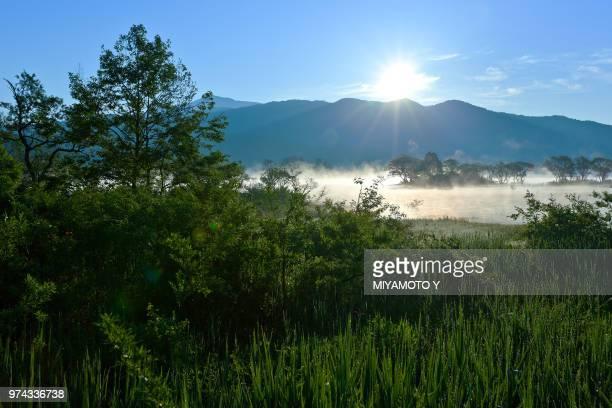 hibaroko lake at sunrise, fukushima, japan - miyamoto y ストックフォトと画像
