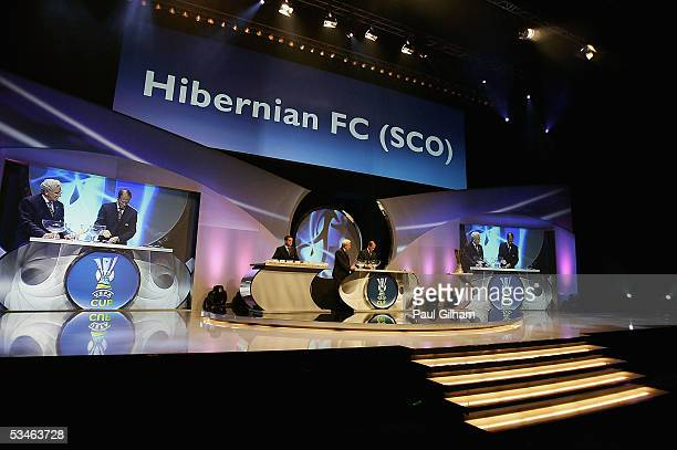 Hibernian are drawn at home to FC Dnipro during the UEFA Cup First Round Draw at the Grimaldi Forum on August 26 2005 in Monte Carlo Monaco