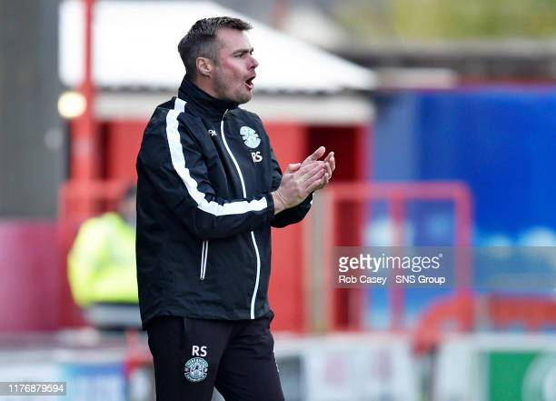 Hibernian assistant Robbie Stockdale during the Ladbrokes Premiership match between Hamilton and Hibernian at the FOY Stadium on October 19 in...