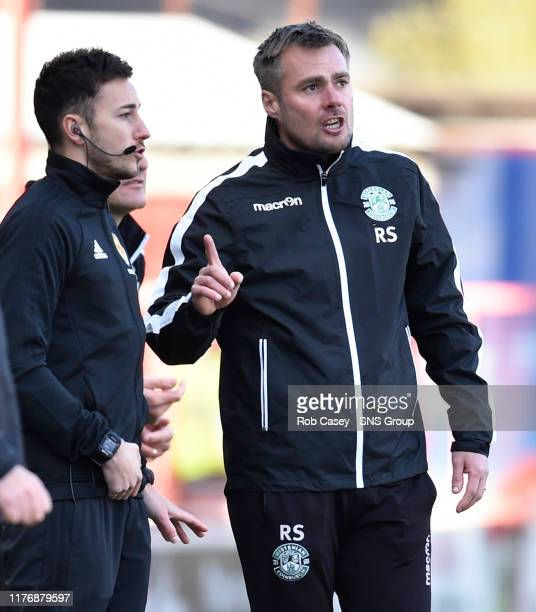 Hibernian assistant Robbie Stockdale speaks with fourth official Scott Lambie during the Ladbrokes Premiership match between Hamilton and Hibernian...