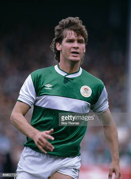 Hibernian defender Gordon Chisholm in action against Hearts in the Scottish Premier League 30th August 1986