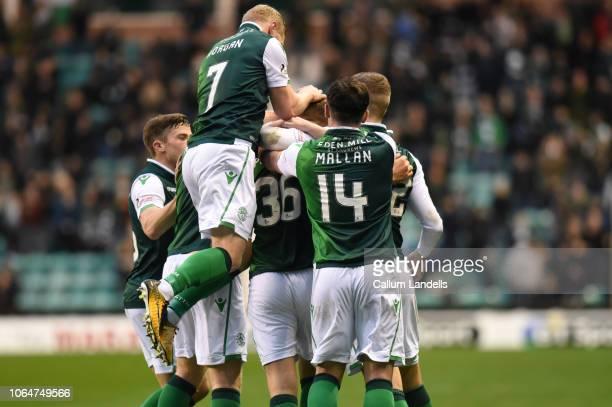 Hibernian FC players celebrate after Ryan Porteous of Hibernian FC scores Hibs second goal during the Ladbrokes Premiership match between Hibernian...