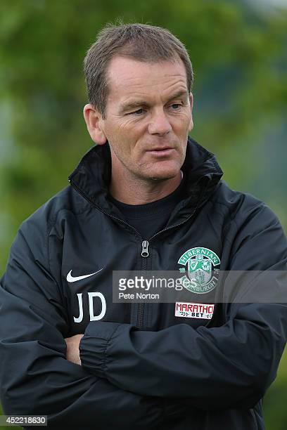 Hibernian First Team Coach John Doolan looks on during a Northampton Town training session at the Hibernian Training Centre on July 16 2014 in...