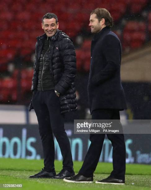 Hibernian manager Jack Ross and Hearts manager Robbie Neilson during the William Hill Scottish Cup semi final match at Hampden Park, Glasgow.
