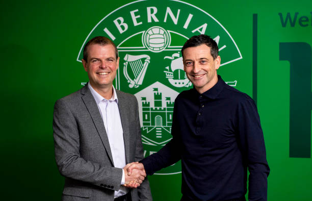 Hibernian manager Jack Ross is unveiled alongside sporting director Graeme Mathie during a press conference at Hibernian Training Centre on November...