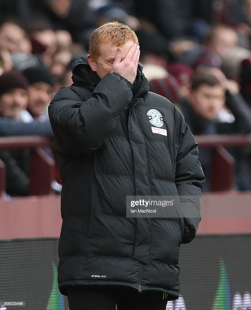 Hibernian manager Neil Lennon is seen during the Scottish Cup Fifth Round match between Heart of Midlothian and Hibernian at Tynecastle Stadium on February 12, 2017 in Edinburgh, Scotland.