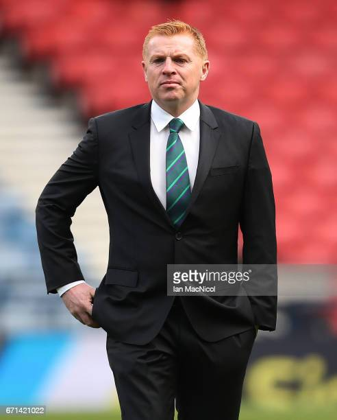 Hibernian manager Neil Lennon is seen prior to the William Hill Scottish Cup semifinal match between Hibernian and Aberdeen at Hampden Park on April...