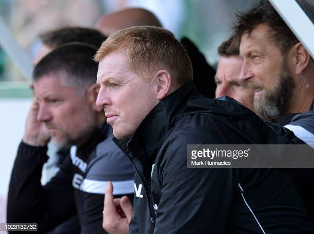 Hibernian manager Neil Lennon looks on during the Scottish Premier League match between Hibernian and Aberdeen at Easter Road on August 25 2018 in...