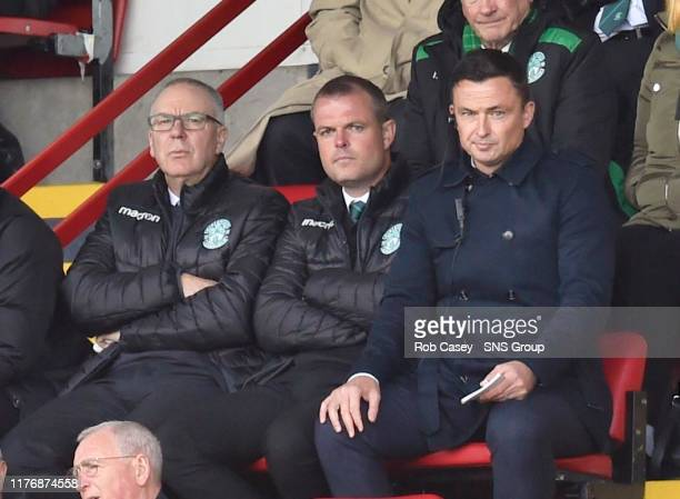 Hibernian manager Paul Heckingbottom alongside head of recruitment Graeme Mathie during the Ladbrokes Premiership match between Hamilton and...