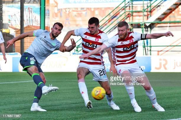 Hibernians Christian Doidge has his goal disallowed during the Ladbrokes Premiership match between Hamilton and Hibernian at the FOY Stadium on...
