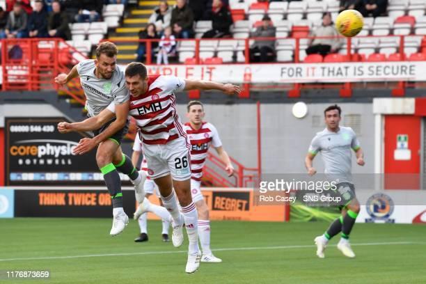 Hibernians Christian Doidge misses a chance during the Ladbrokes Premiership match between Hamilton and Hibernian at the FOY Stadium on October 19 in...