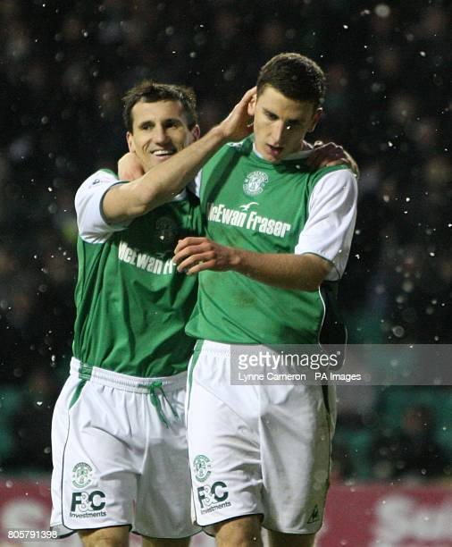 Hibernian's Paul Hanlon celebrates scoring his sides third goal of the game with teammate Liam Miller