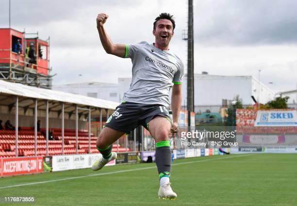 Hibernians Stevie Mallan celebrates his opening goal during the Ladbrokes Premiership match between Hamilton and Hibernian at the FOY Stadium on...