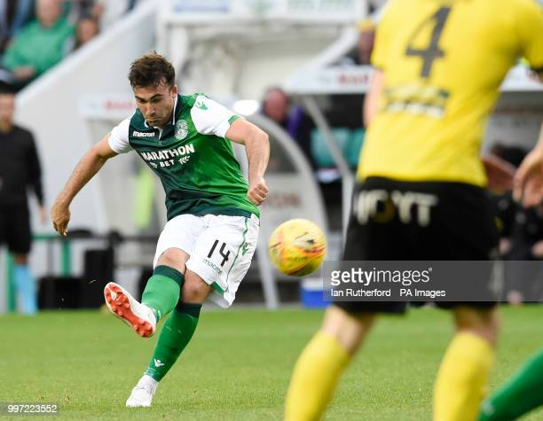 Hibernian's Stevie Mallan scores the sixth goal during the Europa League Qualifying Round One First Leg match at Easter Road Edinburgh