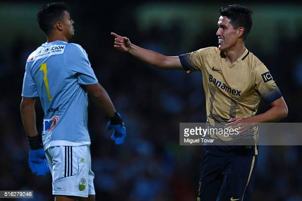 Hibert Ruiz of Pumas celebrates after scoring the second goal of his team during a match between Pumas UNAM and Deportivo Tachira as part of the Copa...