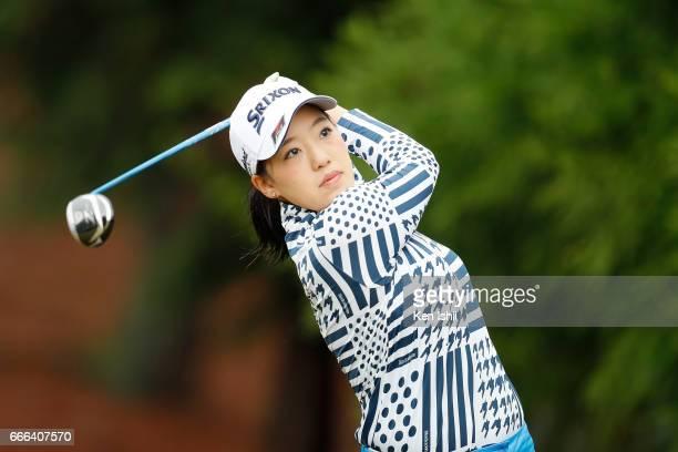 Hibiki Kitamura plays her tee shot on the second hole during the final round of the Hanasaka Ladies Yanmar Golf Tournament at the Biwako Country Club...