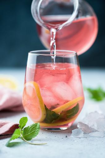 Hibiscus ice tea in glass - gettyimageskorea