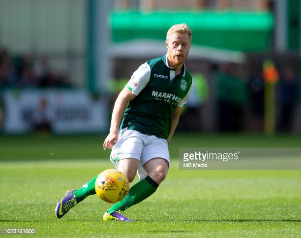 Hibs' Daryl Horgan passes the ball during the first half as Hibernian play host to Aberdeen at Easter Road on August 25 2018 in Edinburgh Scotland