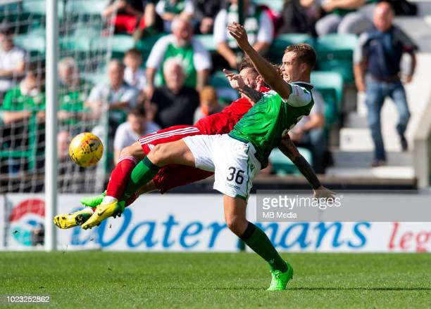 Hibs' defender Ryan Porteous beats Aberdeen striker Stevie May to the ball during the second half as Hibernian play host to Aberdeen at Easter Road...