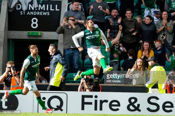 Hibs' forward Jamie MacLaren celebrates after scoring his sides equaliser 4 minutes from time as Hibernian play host to Aberdeen at Easter Road on...