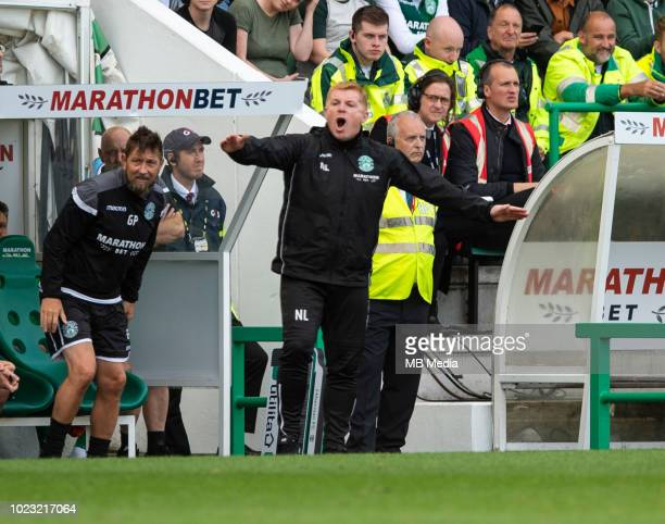 Hibs Head Coach Neil Lennon during the first half as Hibernian play host to Aberdeen at Easter Road on August 25 2018 in Edinburgh Scotland