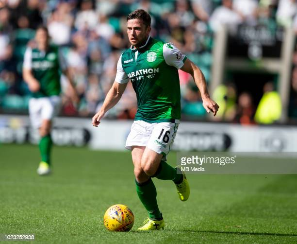 Hibs' midfielder Lewis Stevenson during the first half as Hibernian play host to Aberdeen at Easter Road on August 25 2018 in Edinburgh Scotland
