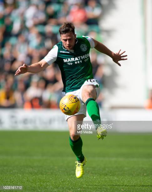 Hibs' midfielder Lewis Stevensongathers the ball during the first half as Hibernian play host to Aberdeen at Easter Road on August 25 2018 in...