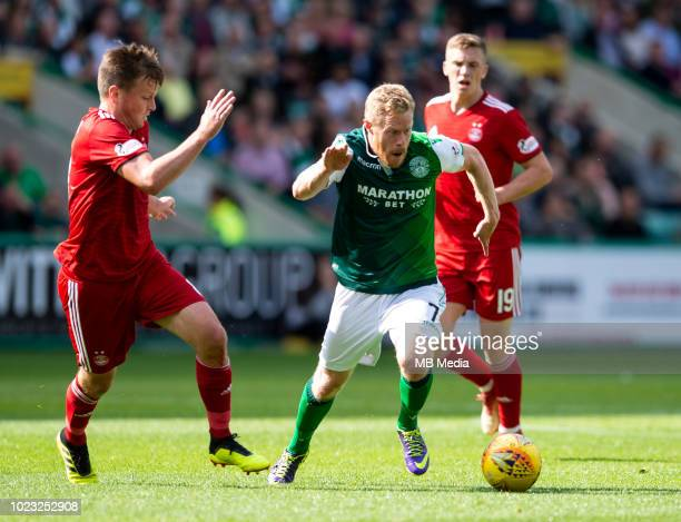 Hibs' winger Daryl Horgan breaks through during the first half as Hibernian play host to Aberdeen at Easter Road on August 25 2018 in Edinburgh...