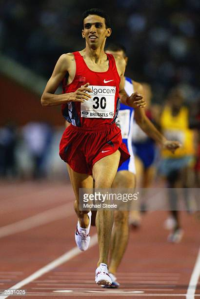 Hicham El Guerrouj of Morrocco crosses the line to win the 1500 metres during the Van Damme Memorial IAAF Golden League meeting on September 5 2003...