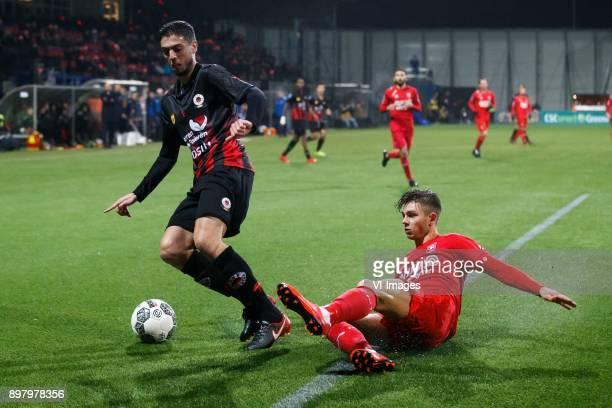 Hicham Faik of Excelsior Alexander Laukart of FC Twente during the Dutch Eredivisie match between sbv Excelsior Rotterdam and FC Twente at Van Donge...
