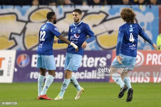 Hicham Faik of Excelsior celebrates 11 with Jeffry Fortes of Excelsior Wout Faes of Excelsior during the Dutch Eredivisie match between Vitesse v...