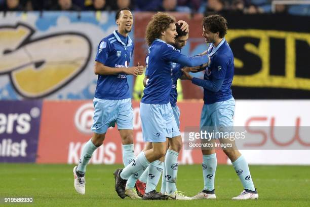 Hicham Faik of Excelsior celebrates 11 with Ryan Koolwijk of Excelsior Wout Faes of Excelsior Jurgen Mattheij of Excelsior during the Dutch...