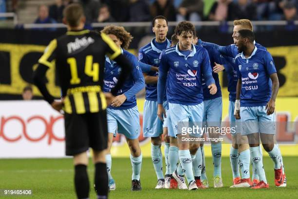 Hicham Faik of Excelsior celebrates 11 with Wout Faes of Excelsior Ryan Koolwijk of Excelsior Jurgen Mattheij of Excelsior Mike van Duinen of...