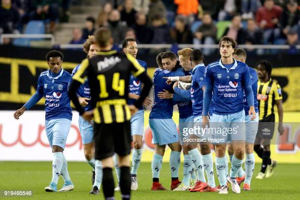 Hicham Faik of Excelsior celebrates 11 with Wout Faes of Excelsior Ryan Koolwijk of Excelsior Luigi Bruins of Excelsior Mike van Duinen of Excelsior...