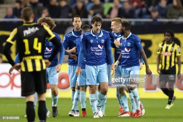 Hicham Faik of Excelsior celebrates 11 with Wout Faes of Excelsior Ryan Koolwijk of Excelsior Stanley Elbers of Excelsior Jurgen Mattheij of...