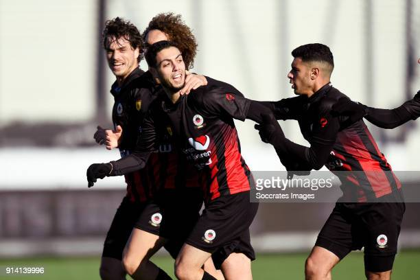 Hicham Faik of Excelsior celebrates 22 with Jurgen Mattheij of Excelsior Wout Faes of Excelsior Khalid Karami of Excelsior during the Dutch...