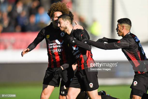 Hicham Faik of Excelsior celebrates 22 with Wout Faes of Excelsior Khalid Karami of Excelsior during the Dutch Eredivisie match between Excelsior v...