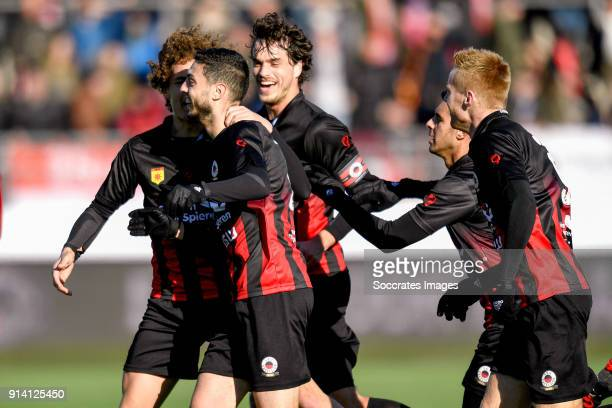 Hicham Faik of Excelsior celebrates 22 with Wout Faes of Excelsior Jurgen Mattheij of Excelsior Khalid Karami of Excelsior Mike van Duinen of...