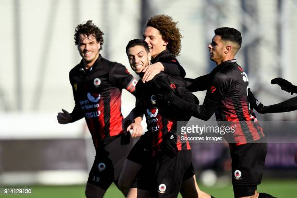 Hicham Faik of Excelsior celebrates 22 with Wout Faes of Excelsior Jurgen Mattheij of Excelsior Khalid Karami of Excelsior during the Dutch...