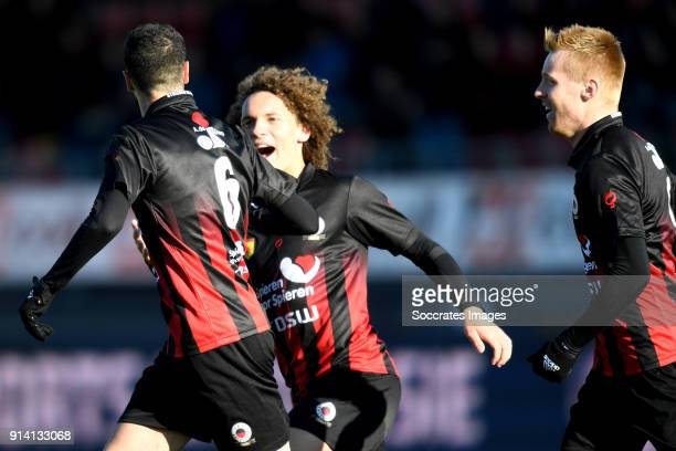 Hicham Faik of Excelsior celebrates 22 with Wout Faes of Excelsior Mike van Duinen of Excelsior during the Dutch Eredivisie match between Excelsior v...