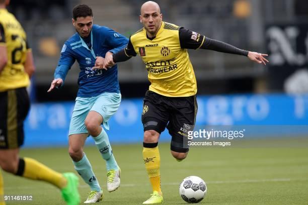 Hicham Faik of Excelsior Dani Schahin of Roda JC during the Dutch Eredivisie match between Roda JC v Excelsior at the Parkstad Limburg Stadium on...