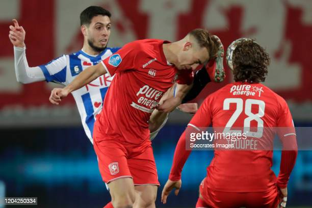 Hicham Faik of SC Heerenveen Oriol Busquets of FC Twente during the Dutch Eredivisie match between Fc Twente v SC Heerenveen at the De Grolsch Veste...