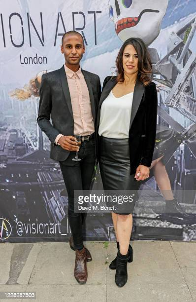 Hichem Hamererras Toure and Zoe Griffin attend a VIP drinks reception for APOS presented by artist and fashion designer Hichem Hamererras Toure's new...
