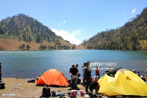 hicker with ranu kumbolo view - mt semeru stock pictures, royalty-free photos & images