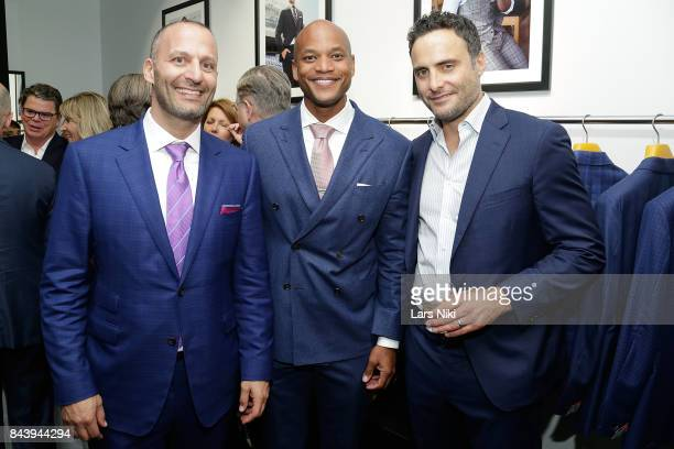 Hickey Freeman Co CEO Stephen Granovsky Robin Hood CEO Wes Moore and Actor Dominic Fumusa attend the 'Hickey Freeman A Celebration of Veterans' event...