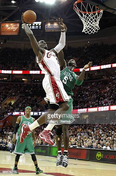 Hickson of the Cleveland Cavaliers gets in for a dunk past Kevin Garnett of the Boston Celtics during Game Two of the Eastern Conference Semifinals...