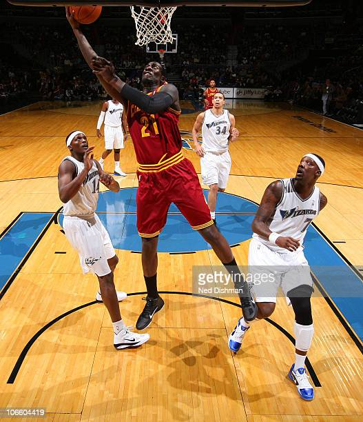 J Hickson of the Cleveland Cavaliers shoots against Al Thornton and Andray Blatche of the Washington Wizards at the Verizon Center on November 6 2010...