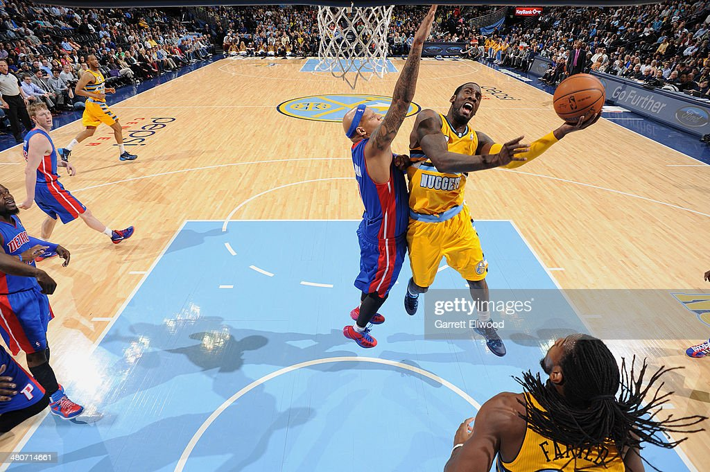 J.J. Hickson #7 of the Denver Nuggets shoots against the Detroit Pistons on March 19, 2014 at the Pepsi Center in Denver, Colorado.
