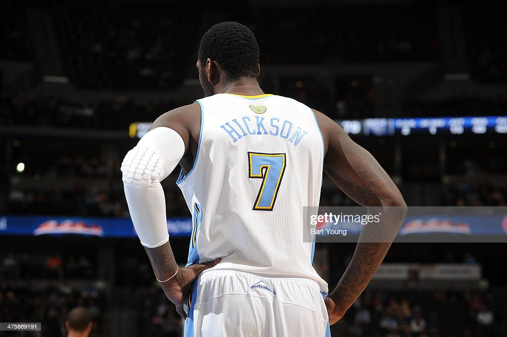 J.J. Hickson #7 of the Denver Nuggets stands on the court during a game against the Charlotte Bobcats on January 29, 2014 at the Pepsi Center in Denver, Colorado.